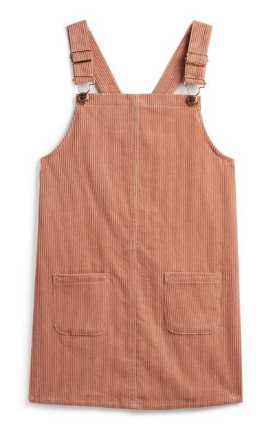 Rožnata obleka z oprsnikom za mlajša dekleta