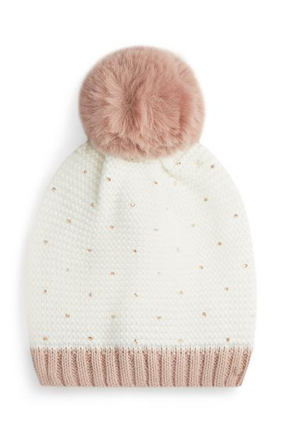 Cream And Blush Pompom Beanie