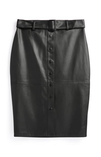 Jupe noire en polyuréthane avec ceinture