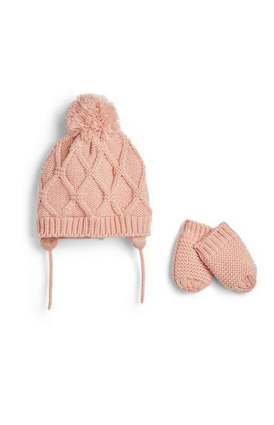 Chapéu e luvas malha menina bebé cor-de-rosa