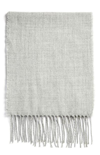 Écharpe grise à franges