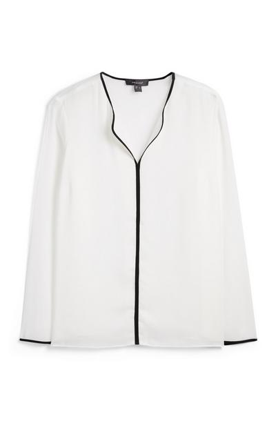 White Piped Blouse