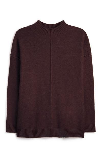 Camisola gola subida costura invertida cor de vinho