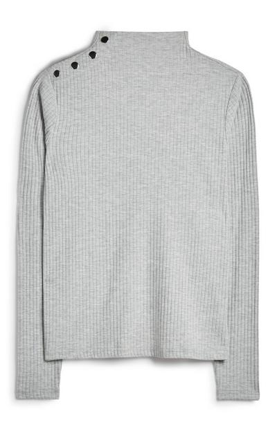 Gray Button Shoulder Sweater