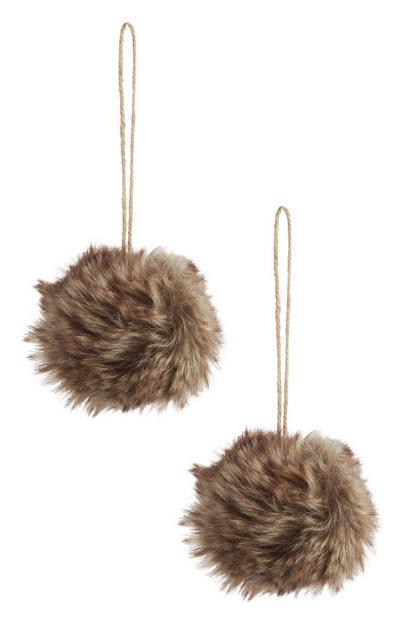 Brown Faux Fur Bauble 2Pk