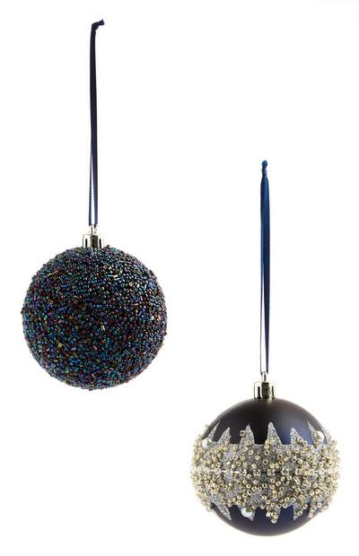 Navy Bauble 2Pk
