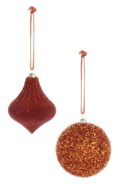 Lot de 2boules de Noël cuivrées à paillettes