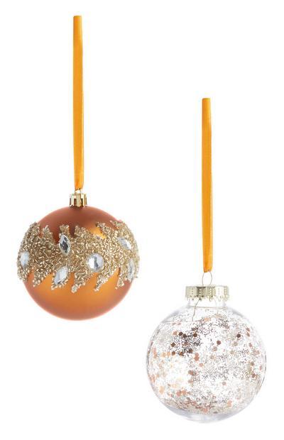 Bronskleurige kerstbal met glitters, 2 stuks