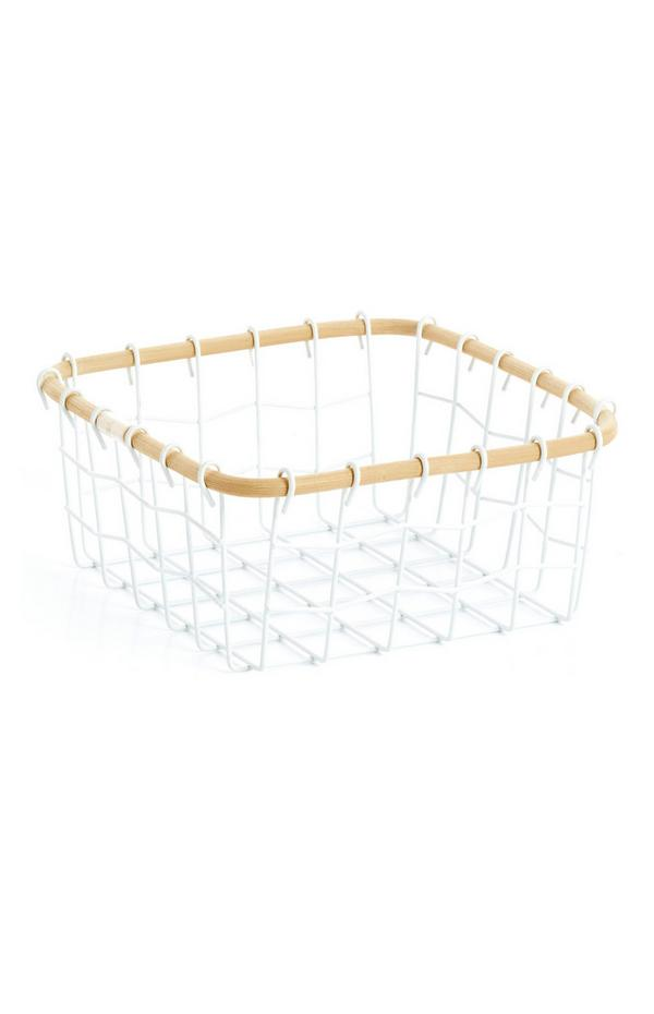 Small Wire Basket With Wood
