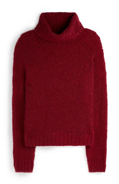 Red Boucle Roll Neck Sweater