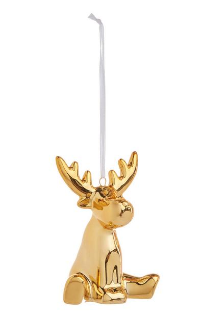Hanging Gold Reindeer Decoration