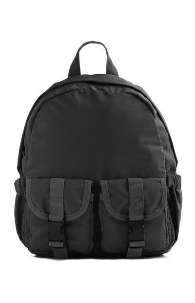Black Double Pocket Backpack