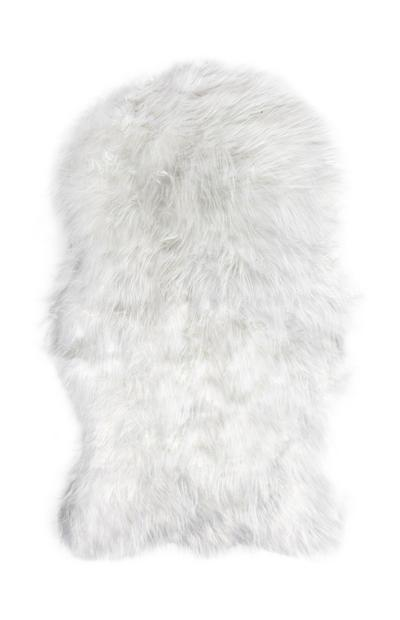 White Faux Sheep Skin Throw