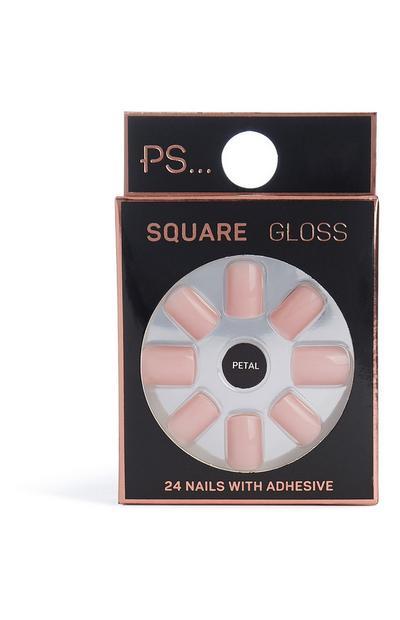Faux ongles brillants carrés