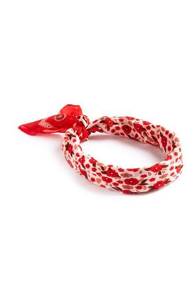 Rdeč cvetlični naglavni šal