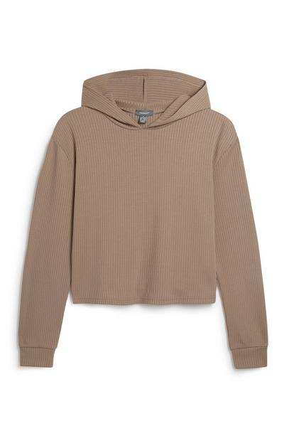 Brown Ribbed Lounge Hoodie