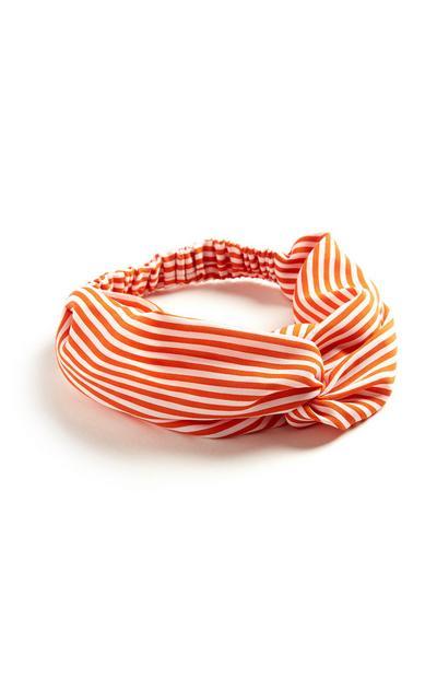 Bandolete estilo turbante riscas cor de laranja