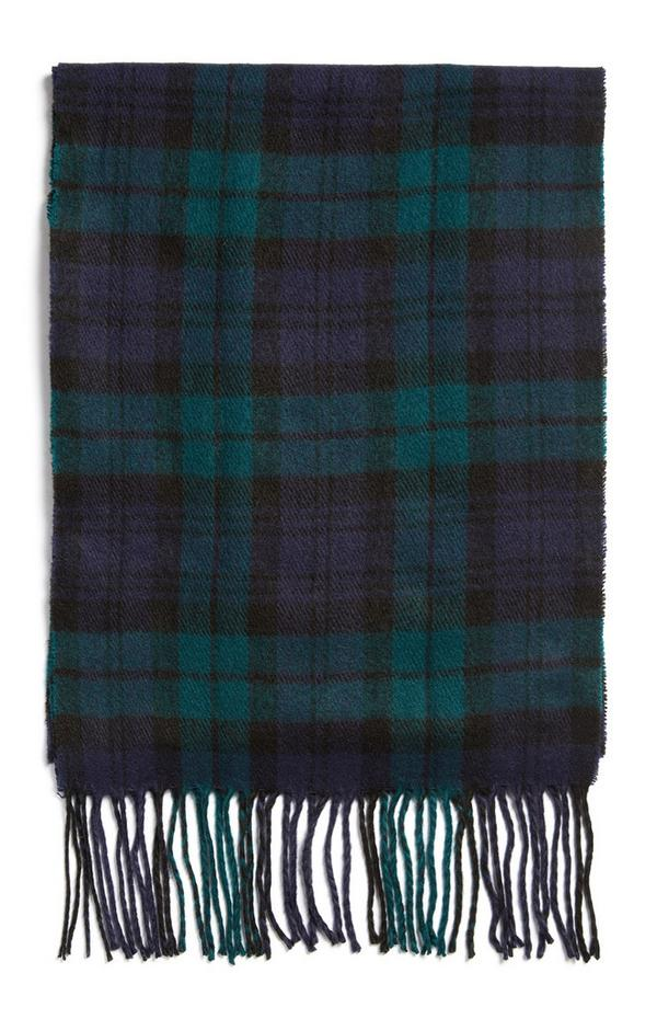 Blue And Green Check Tassle Scarf