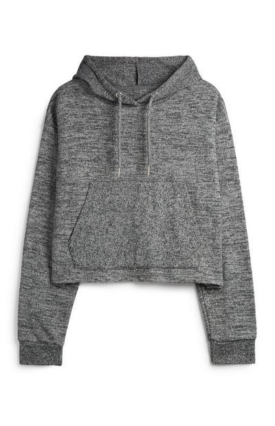 Sweat à capuche court gris