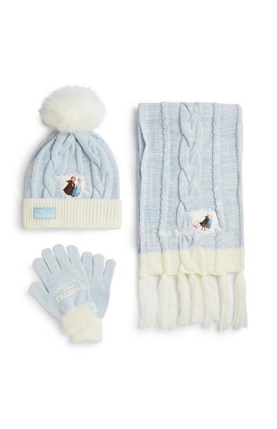Berretto, guanti e sciarpa bianchi e blu di Frozen