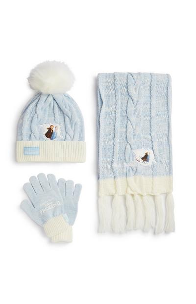 Frozen Blue And White Scarf, Hat And Gloves