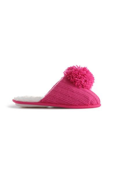 Pinke Strick-Hausschuhe