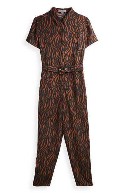 Jumpsuit met riem en zebraprint