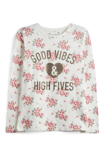 Maglia floreale con scritta da ragazza