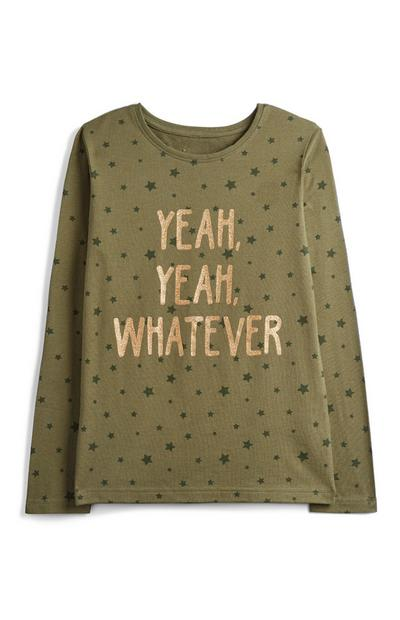 Older Girl Khaki Slogan Top