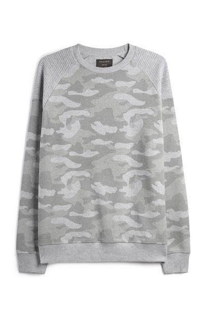 Haut gris à motif camouflage et texture gaufrée