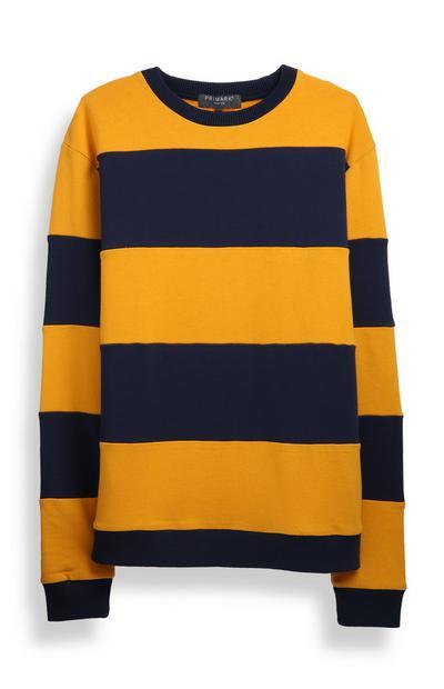 Yellow Stripe Crew Neck Jumper