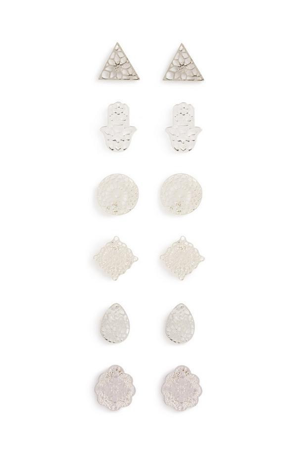 Pack de 6 pares de pendientes de botón