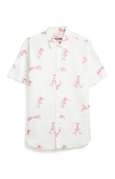 Wit overhemd met Pink Panther-dessin