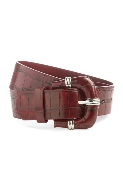 Cinturón marrón efecto cocodrilo