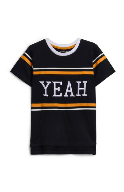 Younger Boy Navy Slogan T-Shirt