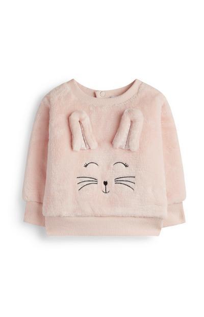 Maglione rosa con coniglietto da bimba