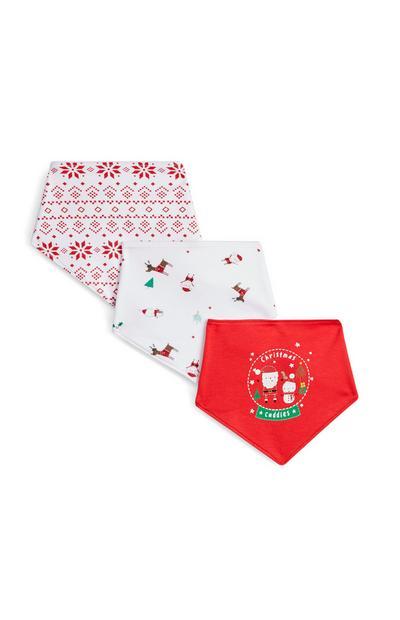 Red And White Christmas Bandanas 3Pk