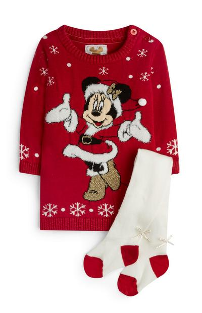 Rode gebreide jurk met maillot en Minnie Mouse-print, meisjes