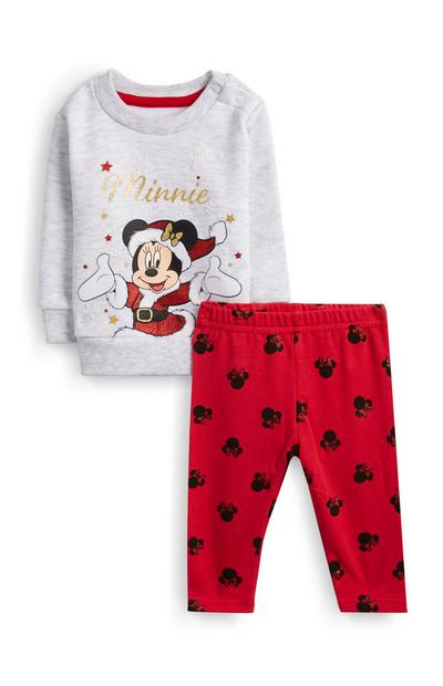 Baby Girl Red Minnie Mouse Christmas Jumper And Leggings