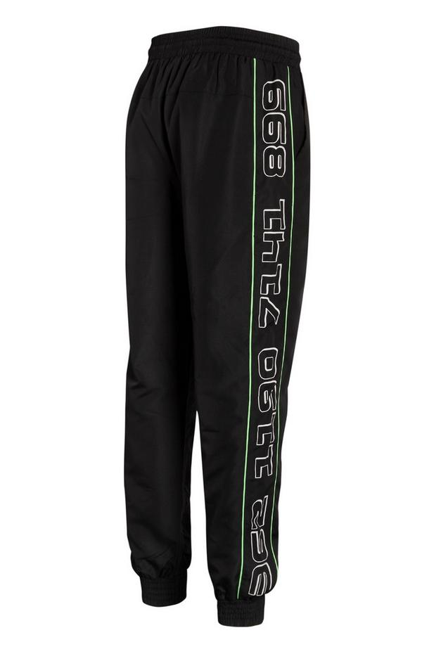 Black Nylon Neon Stripe Joggers