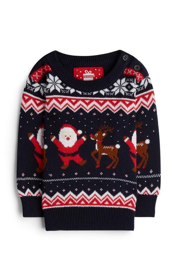 Baby Boy Santa Claus And Rudolph Fair Isle Sweater