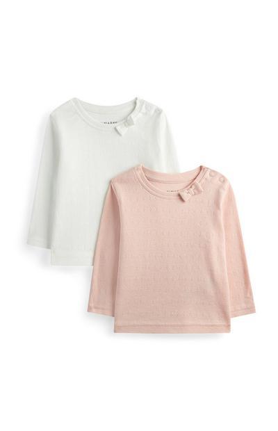 2 T-shirt con fiocco da bimba