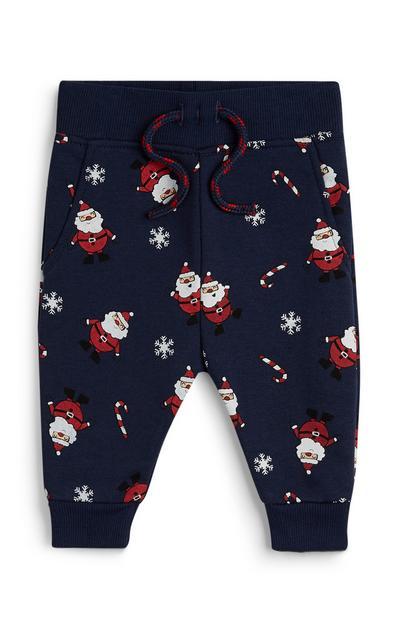 Marineblaue Leggings mit Weihnachtsprint für Babys (J)