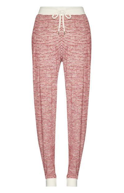 Calças fato treino pijama riscas vermelho