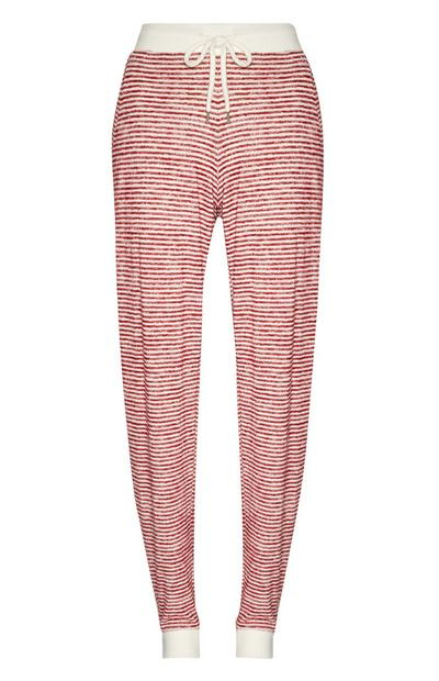 Pantalón de chándal de pijama a rayas rojo