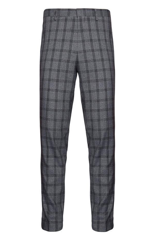 Pantalón de traje gris a cuadros