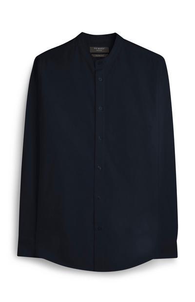 Camicia Oxford blu navy collo Grandad