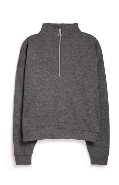 Siv pulover z zadrgo