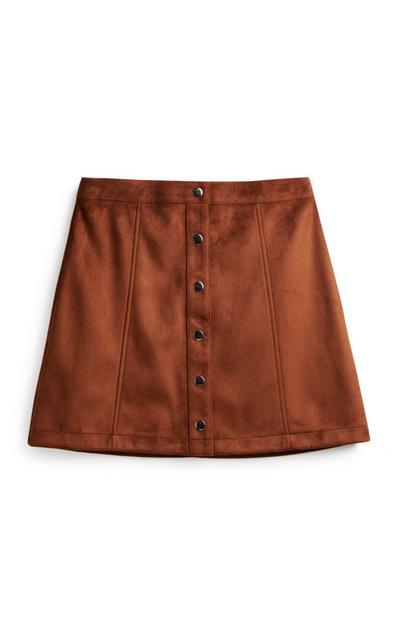Falda marrón chocolate con botones