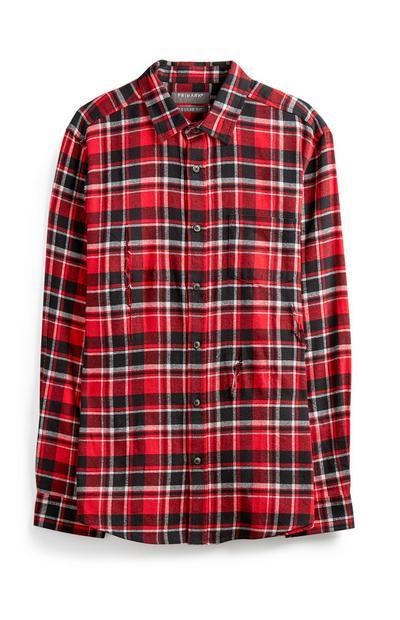 Roodgeruit flanellen overhemd